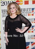 Adele Plus Size Evening Gowns Black 3/4 Sleeves Bateau See Through Sweep Train Brit Awards Celebrity Dresses CE-155