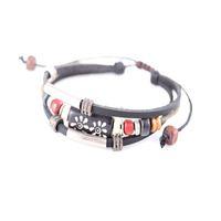 Кожаный браслет 3 layer man's leather bracelet with alloy charms wood beads handmade rope hemp