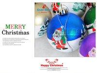 Рождественские украшения 30pcs/lot Christmas tree ornaments 6cm printed santa colored Christmas ball, h151 mixded colors
