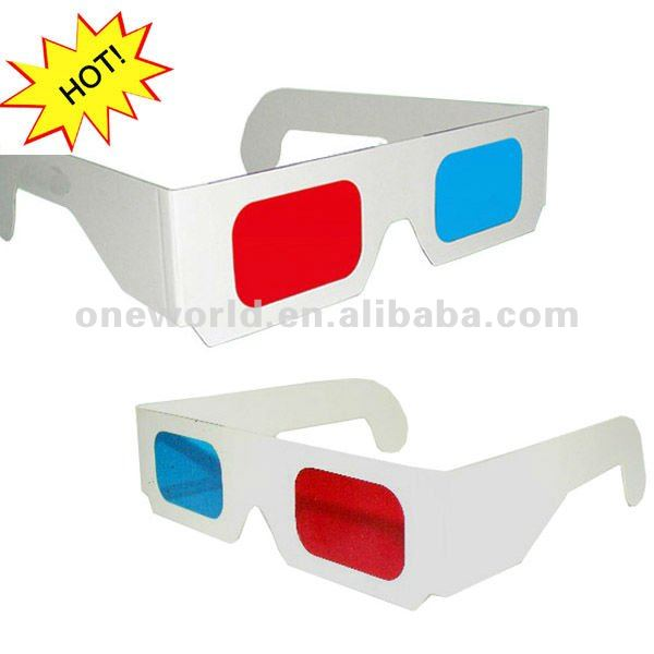 factory directly fprinted custom paper anaglyph 3d eye red cyan glasses