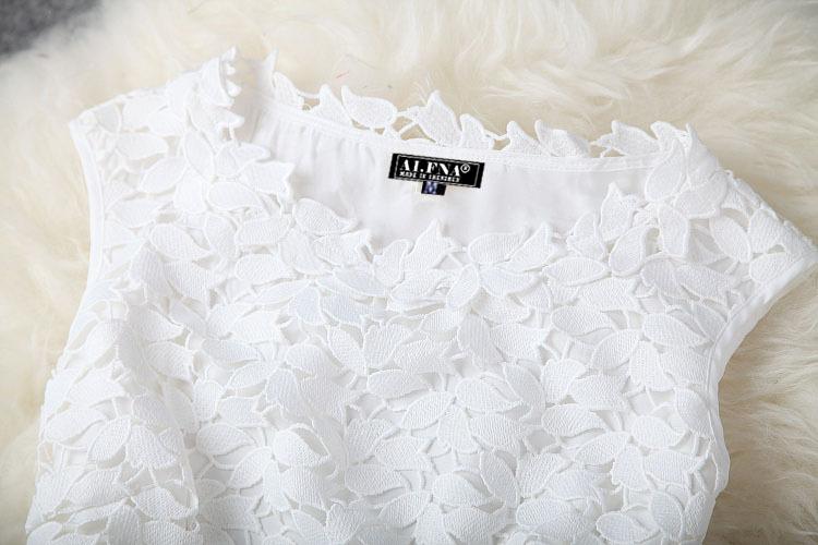 mulheres sem mangas vestido de renda barato imprimir mais mulheres do tamanho veste nova moda verão 2014 passarela vestido # 16173114 fotos Produto # 3