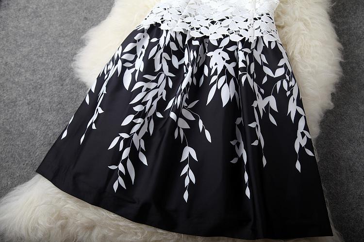 mulheres sem mangas vestido de renda barato imprimir mais mulheres do tamanho veste nova moda verão 2014 passarela vestido # 16173114 fotos Produto # 6