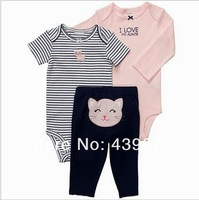 Комплект одежды для девочек new Retail 3pcs, Carter's Baby Boys and Girls Short & Long Sleeve bodysuit + Pant, Carters Baby Clothing