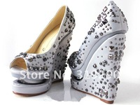 Туфли на высоком каблуке New Fashion Summer Women's Silver Double Platform Crystal Wedges High Heel Shoes