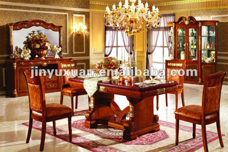 Nuevo cl sico europeo mesa de comedor de madera con sillas - Mesa de centro clasica ...