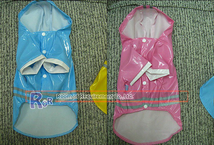 dog clothes, MOQ=1,pet apparel,pet products,pet rain coat,5size,pink/blue,Reflective stripe