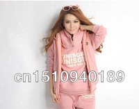Женские толстовки и Кофты New 3PCS Autumn&Winter Leisure Sport Hoodie Coat Vest Pant Sweat Suit Tracksuit M-XL # 49709