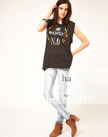 Holiday Sale Free shipping wholesale Wildfox No 9 Foiled Crest Roll Sleeve T-Shirt Y6137