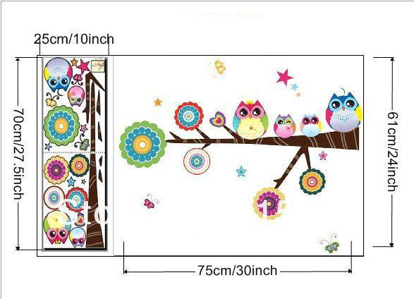 Owl Tree Wall Deco Vinyl Sticker Decal Decor Removable Nursery Art ...