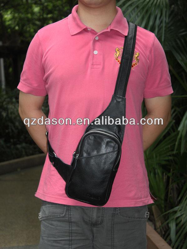 Genuine cowhide leather boys travel bag men sling backpack bag