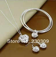 высокое качество 925 стерлингового серебра ювелирные изделия, Ожерелье + браслет + серьги набор сердце двухсекционный ювелирных изделий Заводская цена