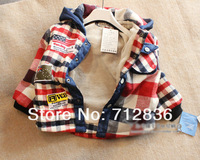 2013 Kids Baby Boy's Winter Jackets & Clothes Parkas Children's Winter Cashmere Plaid Hoodie Coats Outwear Freeshipping
