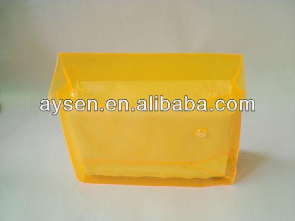 Pvc bolsa de plástico con botón a presión de color