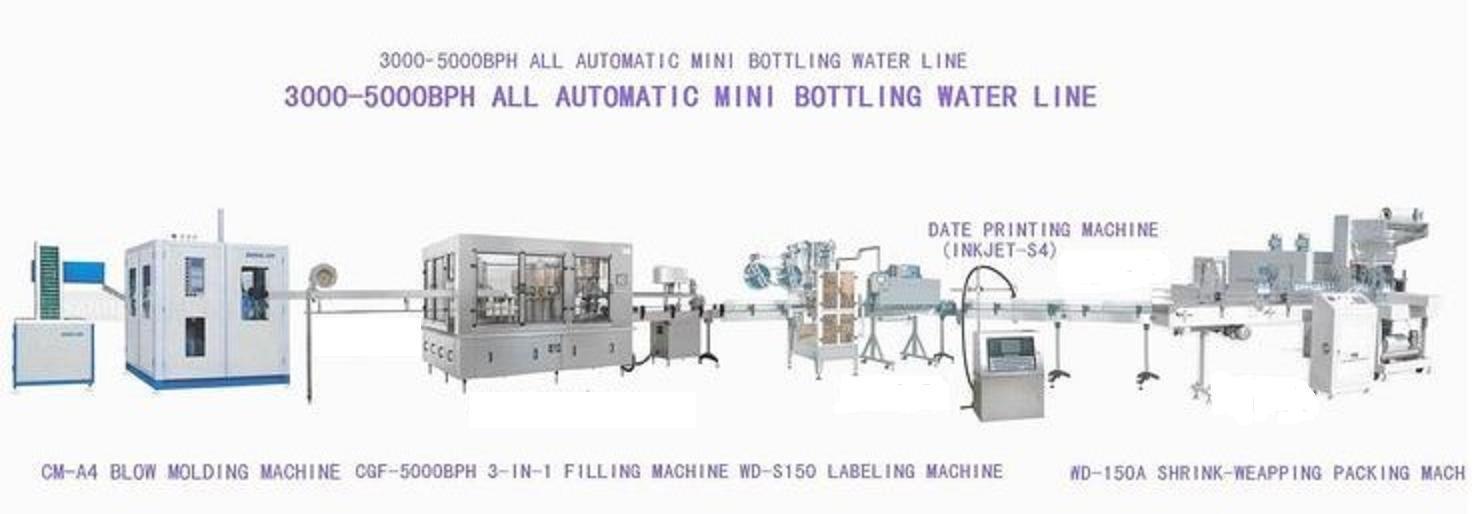 automática botella pequeña de agua línea de producción completa