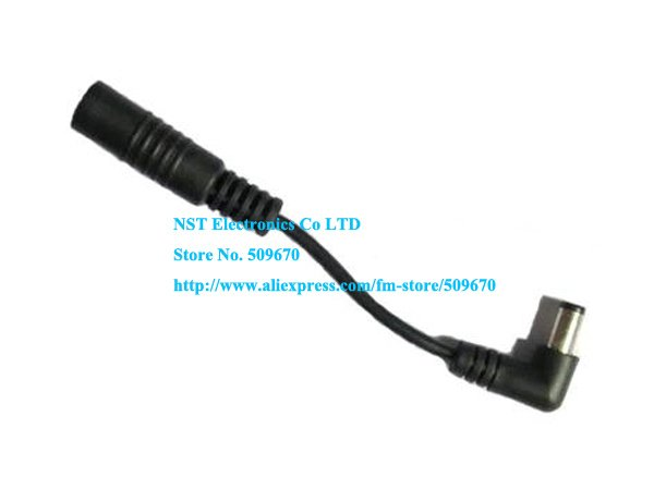 Free Shipping/ 10pcs/  Short DC 5.5x2.1 Male Plug 90 Degree Right Angle to Female Extension Cable Cord