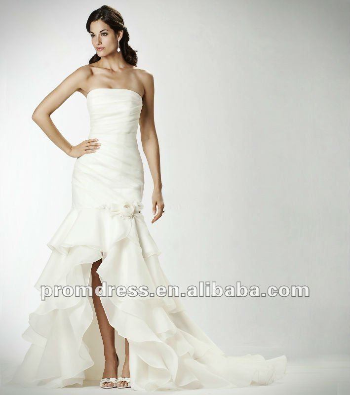 high quality ruffle short front long back wedding dress WD-581