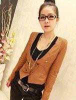 Женская одежда из кожи и замши Autumn U Collar Double Breasted PU Coat