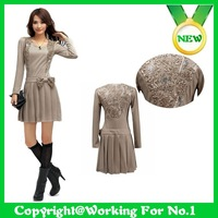 2012 autumn newladies' fashion long-sleeved autumn and winter dress bow pleated skirt