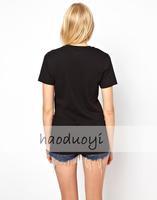 Free shipping 2014 New Fashion Punk Women T Shirt Homies Printed T-shirts Summer Short Sleeve tops Black white Blouse TX9027