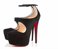 Туфли на высоком каблуке 2013 New Arrive Sexy Ultra Red Bottoms High Heels Pump Shoes Wedding Shoes Black Genuine Leather Platform Pumps Shoes For Women