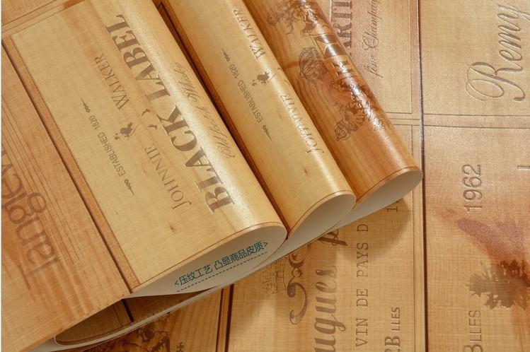 Hot Sale Quality Wood Wallpaper Wine Box Plaid Zakka Wall