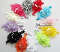 Детский аксессуар для волос 5pcs/lot Beautiful Hairband Fashion Baby Girls Flowers Headbands Hair Accessories rose pearl flower th06