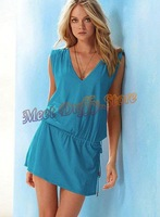 Женское платье women bohemian V-neck bikini dress swimwear lady's holiday beach dress backless dress