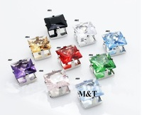 free shipping assorted color cut cz cubic zircon Men magnet studs earrings, titanium sterling silver jewelry 2012