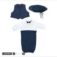 Lovely gentleman baby suit/ Baby three piece set: cap+vest + romper / Infant suit