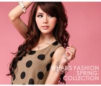 Женский комбинезон HK Post!-selling large polka dot strap dot vest strap jumpsuit free belt #1053