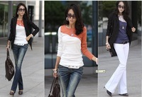 Free shipping ,Autumn and Winter Ladies Long Sleeve T shirt Mixed Colors Women Tees