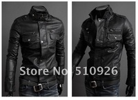 2012 Free shipping Hotsale man leather zipper man LiLing locomotive fur high quality 3 colors