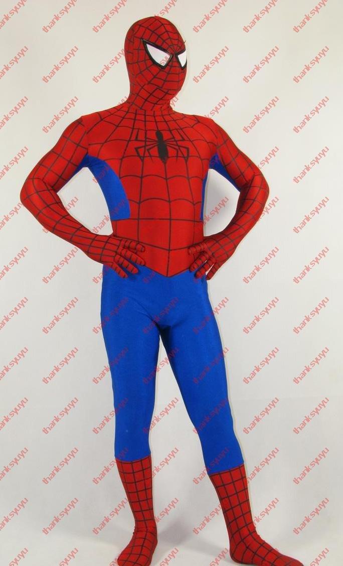 FREE SHIPPING New Style Lycra Spandex Spiderman Super Hero zentai ...