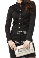 Женское платье 2013 dress, women's fashion Dress with belt women clothing long sleeve dress