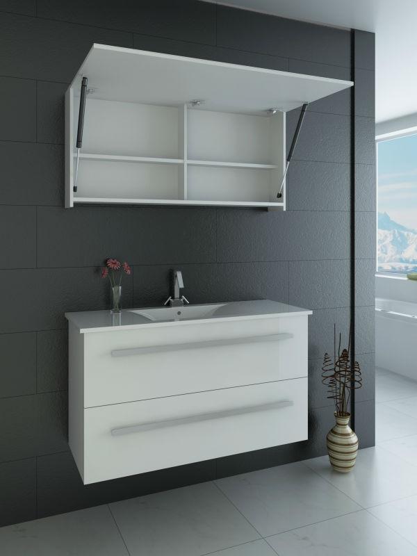 Lustroso elevado pvc banheiro armário com espelho, armário com espelho de luz -> Armario Banheiro Alto