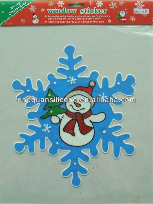 Ornement de no l gel cling fen tre d coration fen tre for Decoration fenetre gel