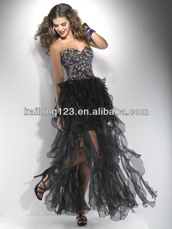 Corset Black Pink Orange Organza Short Front Long Back Prom Dress ...