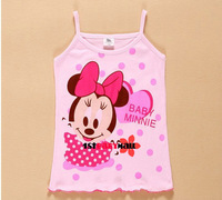 Футболка для девочки 1st baby mall] 4pcs/lot summer cartoon baby girls gallus t-shirt Minnie Hello Kitty children's Tank t shirt girls brace Tees