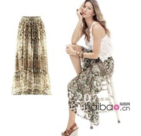 Женская юбка ladies fashion chiffon full long skirt with flower print