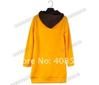 Женские толстовки и Кофты Women's Large Long Sleeve Sweater Hoodies Coat Jacket Outerwear Sweatshirt Top Yellow 6265