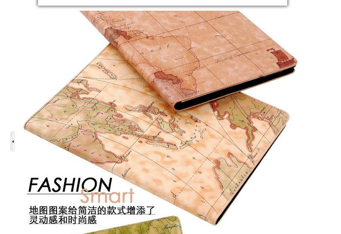 The World Map Leather case for Ipad mini,With Auto Sleep wake up function.