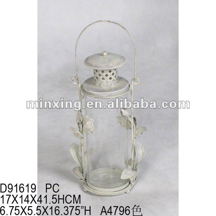 Cream metal hurricane lantern