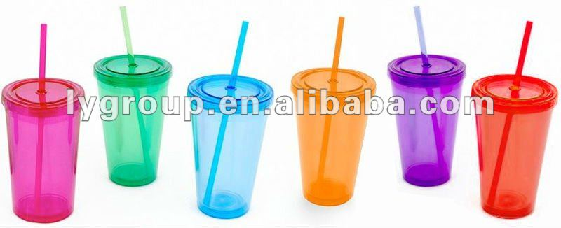 16oz Folding Straw Double Wall Tumbler Cup with Bling Stones
