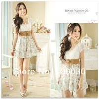 Женское платье Spring 2013 New Fashion Women Sweet Cut Floral Sexy Lace Print Chiffon Dress Classic Prom Skirt with Belt