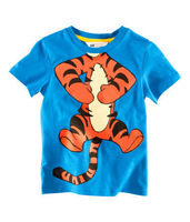 Футболка для девочки HOT 2013 Children High Quality Boys T Shirt Kids Tops Summer Wear Short Sleeve Clothing Tiger Blue Color