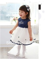 Платье для девочек baby suits girl dress Crown princess dress Princess dress blue cotton suit