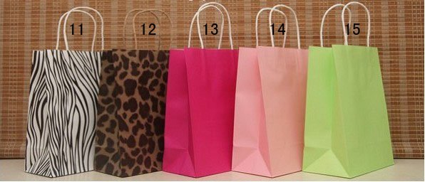 wholesale!Free shipping 15 Style  Fashion Hand Length Handle Paper Bag 27*21*11cm (50pcs/lot)