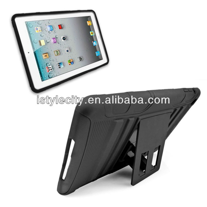 pc+silicone hybrid kickstand case for ipad mini