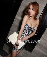 праздник сексуальный дизайн леопарда печати обертывание груди спинки платье мини платье k188