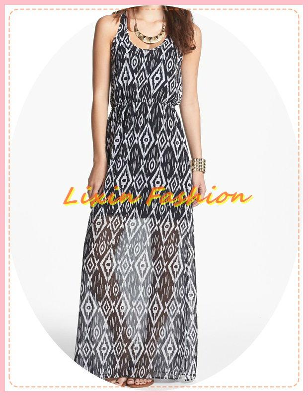nouveau style dames en noir et blanc et couleur de mélange midi robe de mousseline